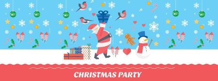 Christmas Party Announcement with Santa and Snowman Facebook coverデザインテンプレート