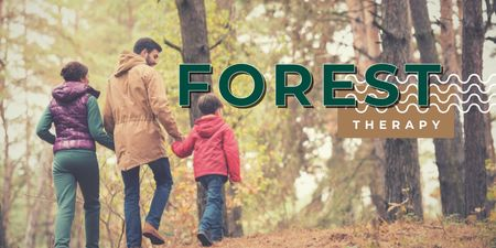 Family walking in Autumn Forest Twitter – шаблон для дизайна