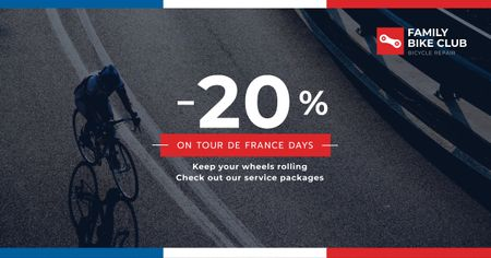 Ontwerpsjabloon van Facebook AD van Tour de France Family bike club discounts