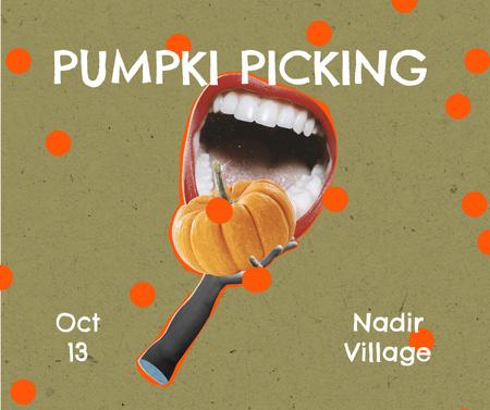 Funny Illustration of Pumpkin in Mouth Facebook Modelo de Design