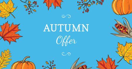Autumn Offer in Leaves Frame Facebook AD Tasarım Şablonu