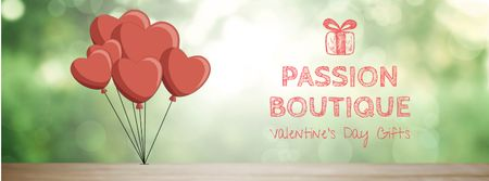 Valentine's Day heart-shaped Balloons Facebook Video cover Modelo de Design