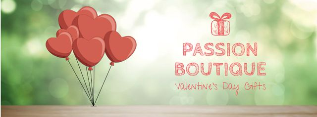 Valentine's Day heart-shaped Balloons Facebook Video coverデザインテンプレート