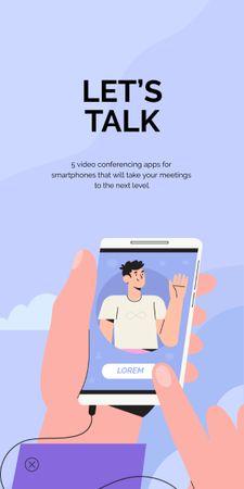 Ontwerpsjabloon van Graphic van App promotion with Man on phone Screen