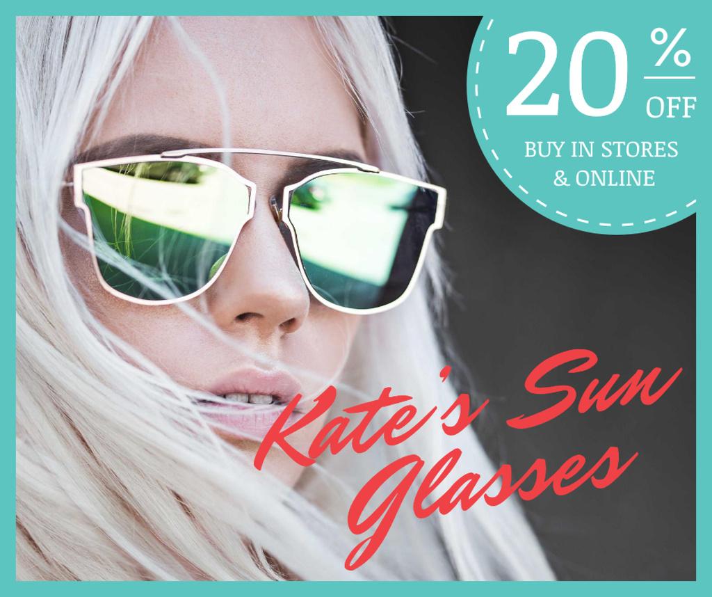 Fashion Accessories Ad Stylish Girl in Sunglasses — Crear un diseño