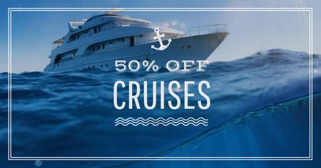 Cruises Promotion Ship in Sea Facebook AD – шаблон для дизайну