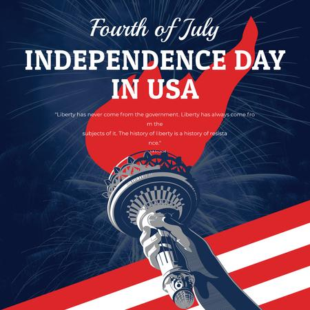 Plantilla de diseño de Independence Day celebration with Liberty Statue Instagram AD