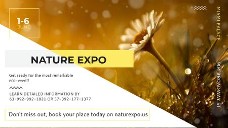 Nature Expo announcement Blooming Daisy Flower Title – шаблон для дизайна