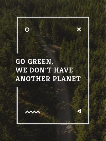 Plantilla de diseño de Ecology Quote with Forest Road View Poster US