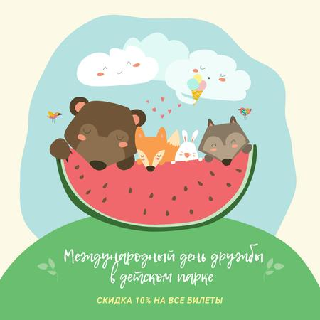 International Friendship Day in Kids Park offer with funny animals Instagram AD – шаблон для дизайна