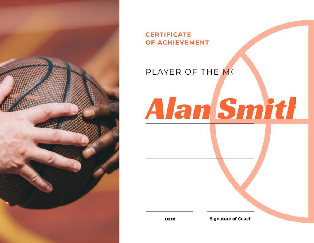 Basketball Player of the month Achievement Certificate Modelo de Design