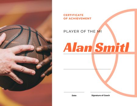 Basketball Player of the month Achievement Certificateデザインテンプレート