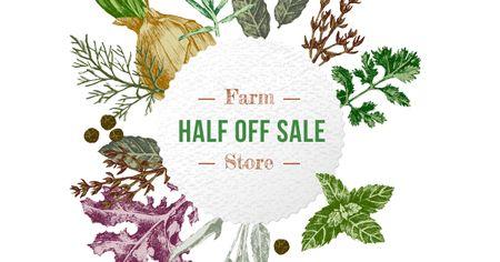 Designvorlage Farm Natural Herbs Frame für Facebook AD