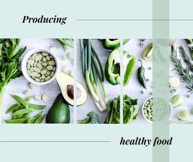 Plantilla de diseño de Green healthy food on table Facebook