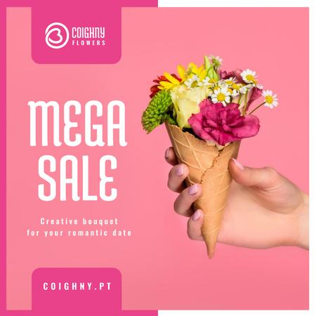 Sale Announcement Hand Holding Waffle with Flowers Instagram AD Modelo de Design