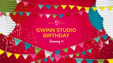 Ontwerpsjabloon van FB event cover van Birthday Celebration Announcement with Festive Decorations