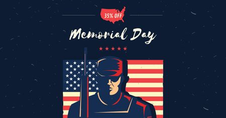 Modèle de visuel USA Memorial Day with Soldier and Flag - Facebook AD