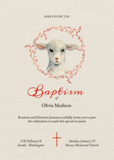 Baptism Ceremony Announcement With Cute Lamb