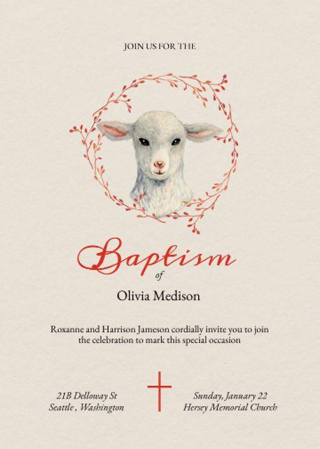Baptism Ceremony Announcement with Cute Lamb Invitation – шаблон для дизайна