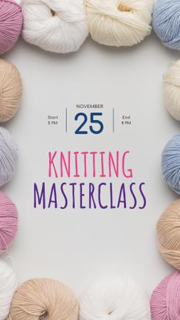 Knitting Masterclass Offer with Colorful Threads Instagram Story – шаблон для дизайна