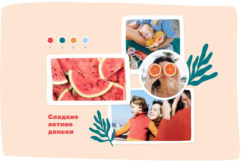 Parents with Kid having fun at seacoast Mood Board – шаблон для дизайна