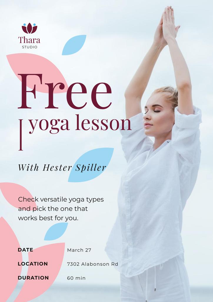 Lesson Offer with Woman Practicing Yoga — Créer un visuel