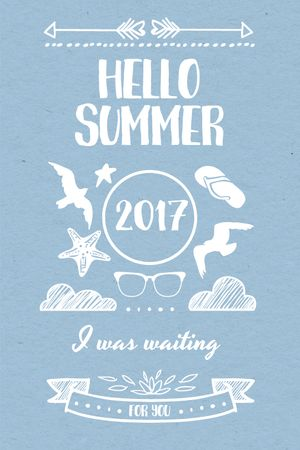 Template di design Summer Trip Offer Doodles in Blue Tumblr