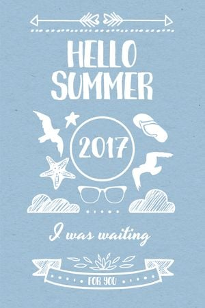 Summer Trip Offer Doodles in Blue Tumblr – шаблон для дизайна