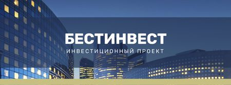 Real Estate Ad with Glass Building in Blue Facebook cover – шаблон для дизайна