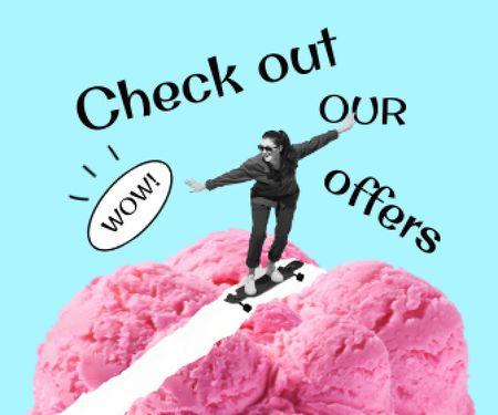 Plantilla de diseño de Girl riding Skateboard on Ice Cream Large Rectangle