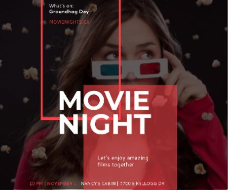 Designvorlage Movie Night Event Woman in 3d Glasses für Large Rectangle