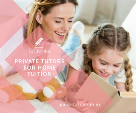 Private Tutors Promotion Woman and Girl Reading Medium Rectangle – шаблон для дизайна