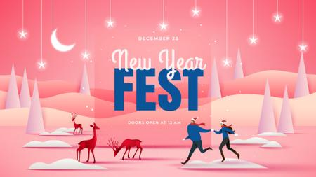 New Year Fest Announcement with People and Deers FB event cover – шаблон для дизайна