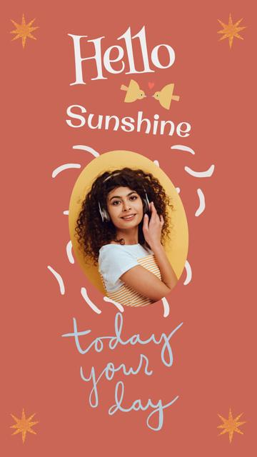 Morning Inspiration with Happy Young Girl Instagram Story Šablona návrhu