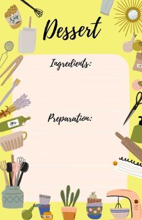 Platilla de diseño Dessert Cooking Ad with Kitchen Cutlery Recipe Card