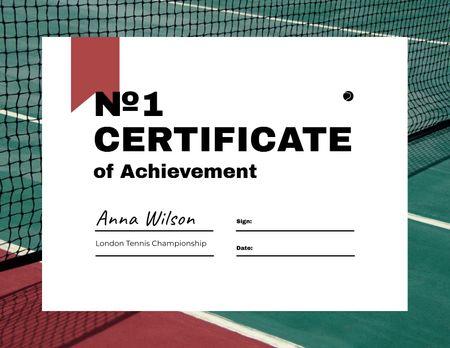 Achievement award in Tennis Championship Certificate Modelo de Design