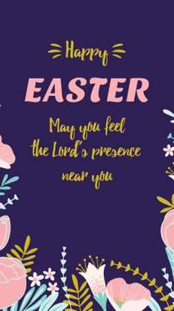 Szablon projektu Easter Greeting with Flowers Instagram Video Story
