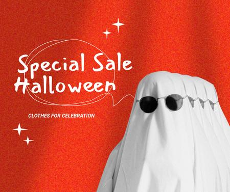 Halloween Special Sale Ad with Funny Ghost Facebook Design Template