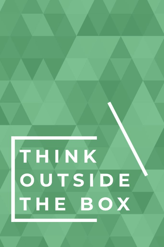 Think outside the box quote on green pattern — Crear un diseño