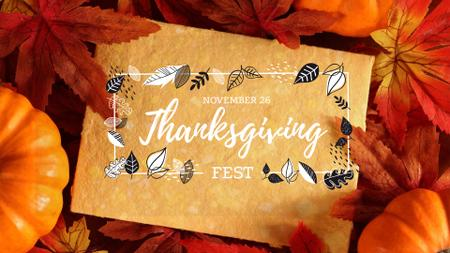 Ontwerpsjabloon van FB event cover van Thanksgiving Holiday with Autumn Leaves and Pumpkins