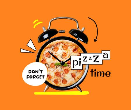 Funny Illustration of Pizza on Alarm Clock Facebook Πρότυπο σχεδίασης