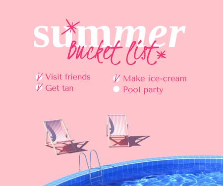 Designvorlage Summer Inspiration with Sun Loungers by Pool für Facebook