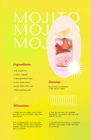 Plantilla de diseño de Delicious Fruits Mojito Beverage Recipe Card