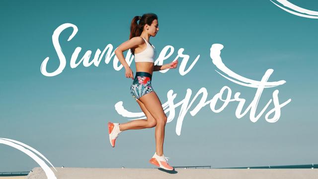 Summer Sports Inspiration with Running Woman Youtube Thumbnail Πρότυπο σχεδίασης