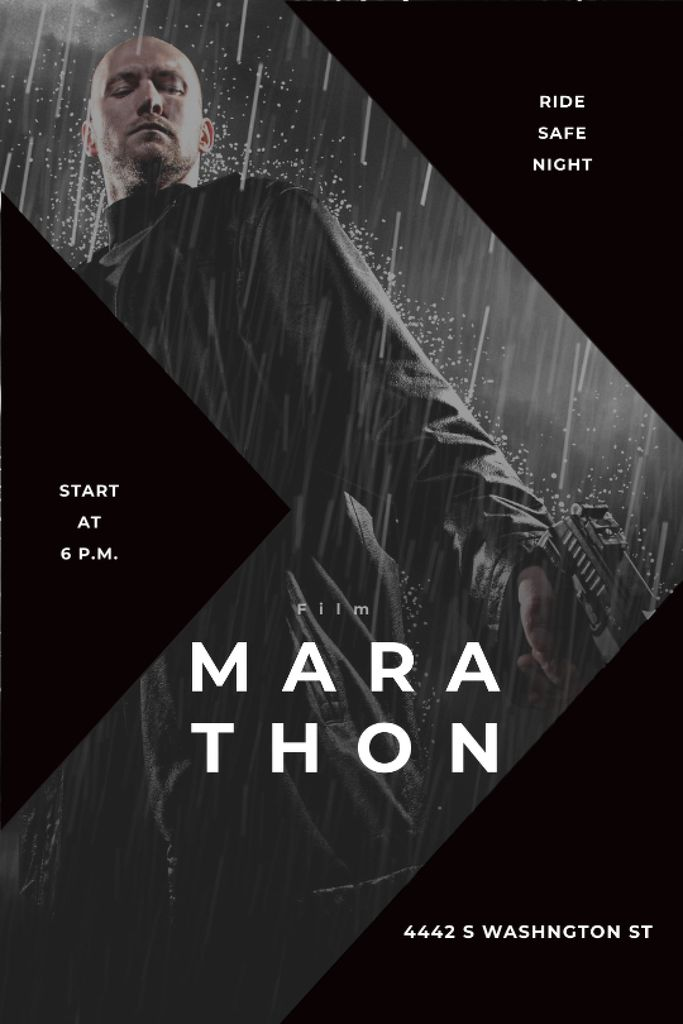 Szablon projektu Film Marathon Ad Man with Gun under Rain Tumblr