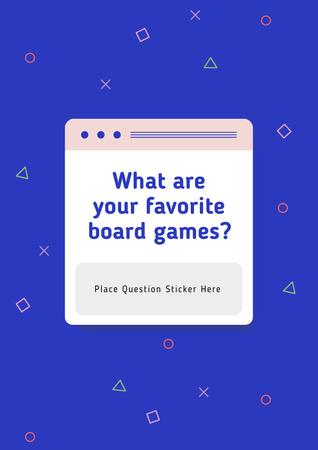 Favorite Board Games question on blue Poster – шаблон для дизайну