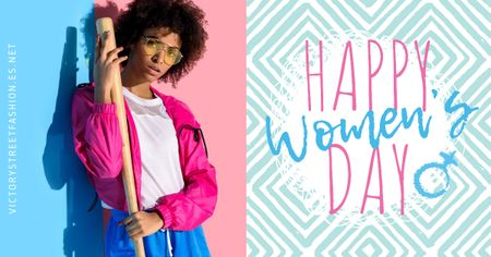 Designvorlage Women's day greeting with Stylish Woman für Facebook AD