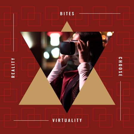 Virtuality Quote Woman Using VR Glasses Instagram ADデザインテンプレート