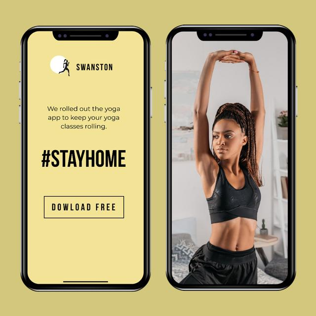 #StayHome Yoga App promotion with Woman exercising Instagram Modelo de Design