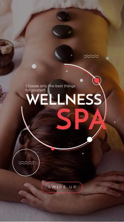 Wellness Spa Ad Woman Relaxing at Stones Massage Instagram Story – шаблон для дизайна